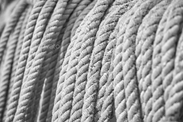 Black and white picture of old boat ropes. - Stock Photo - Images