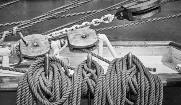 Black and white picture of old sailing boat rigging - Stock Photo - Images