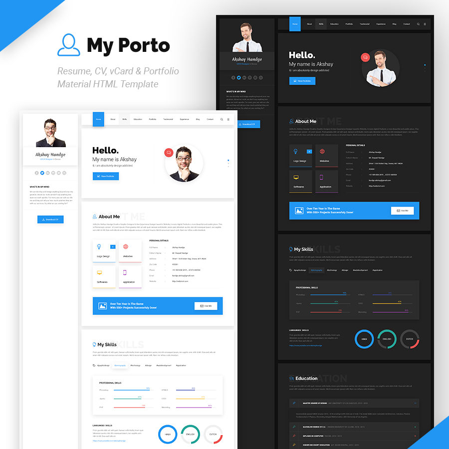 My Porto- Resume and vCard HTML Template - 3