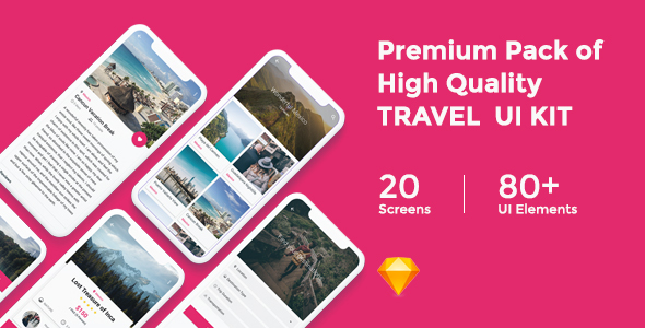 Travelion - Travel & Vacation UI KIT - Sketch Templates