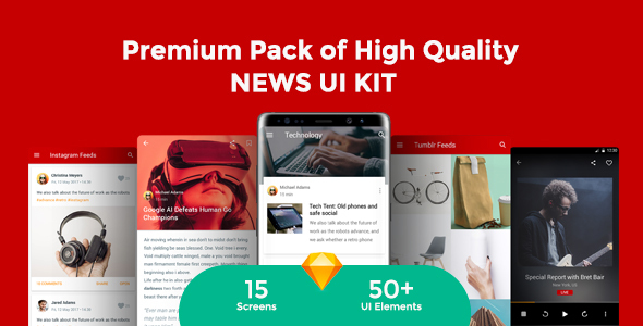 Newsmaker - News & Editorial UI KIT - Sketch Templates
