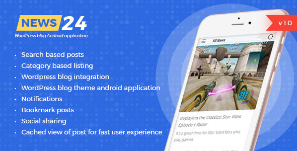 News 24 - Wordpress Blogs & News Android app - Google ads integrated | Analytics | Notifications            Nulled