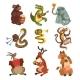 Cartoon Animal Characters Playing Various