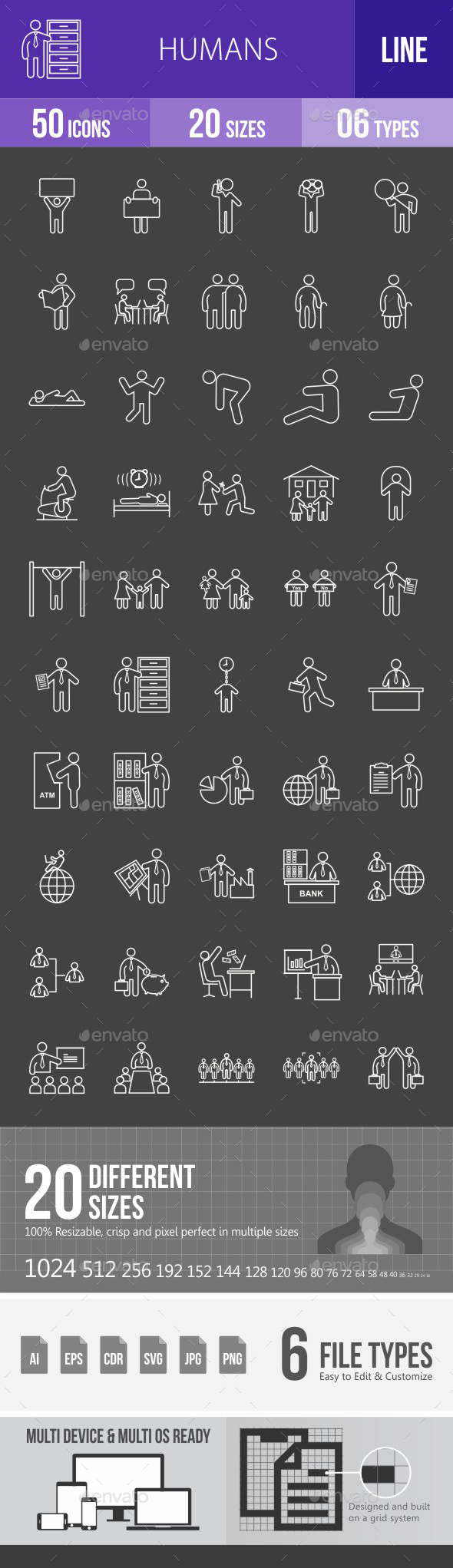 Humans Line Inverted Icons - Icons