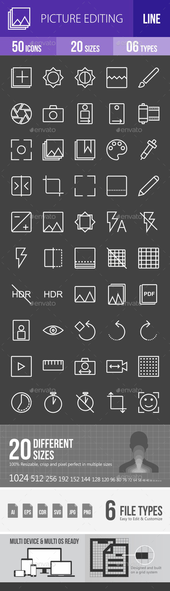 Picture Editing Line Inverted Icons - Icons