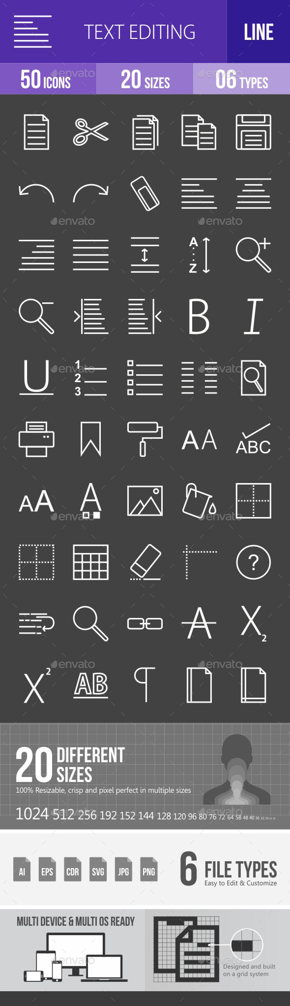 Text Editing Line Inverted Icons - Icons