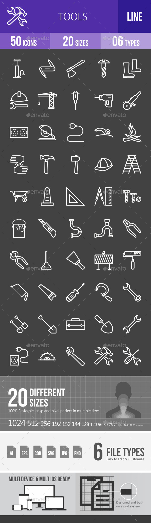 Tools Line Inverted Icons - Icons