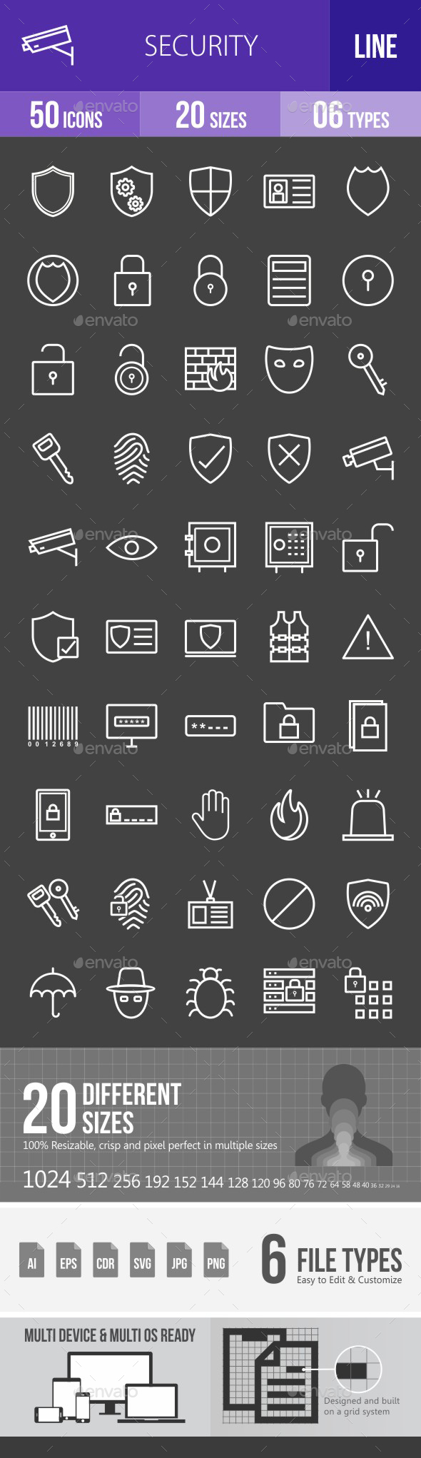 Security Line Inverted Icons - Icons
