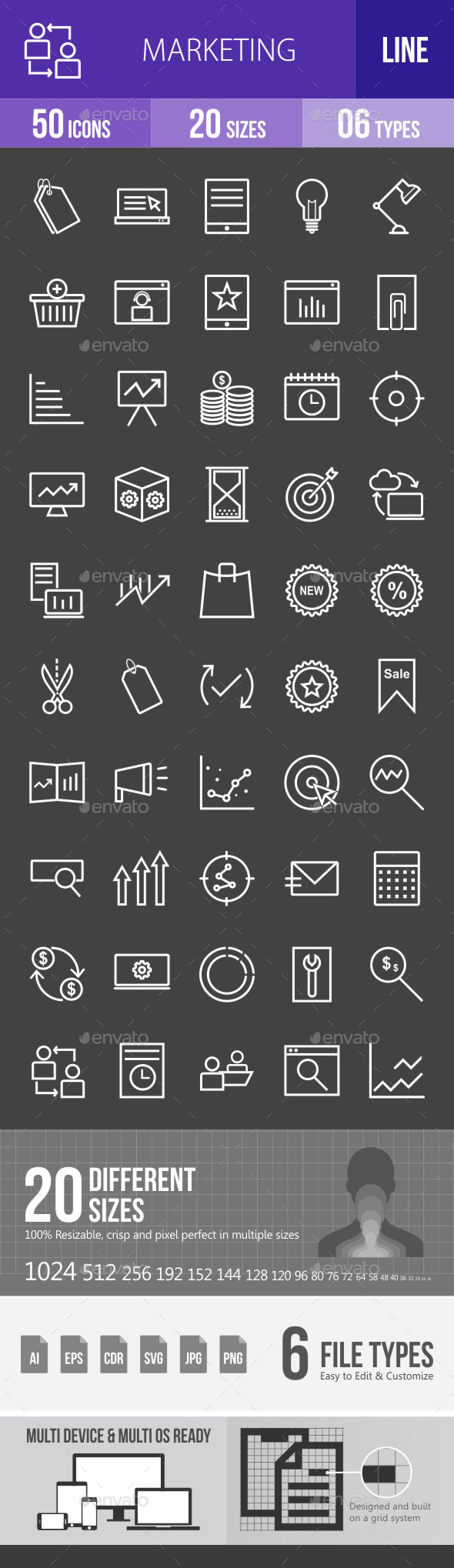 Marketing Line Inverted Icons - Icons