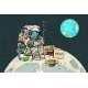 Poor Hungry Astronaut on the Moon - GraphicRiver Item for Sale