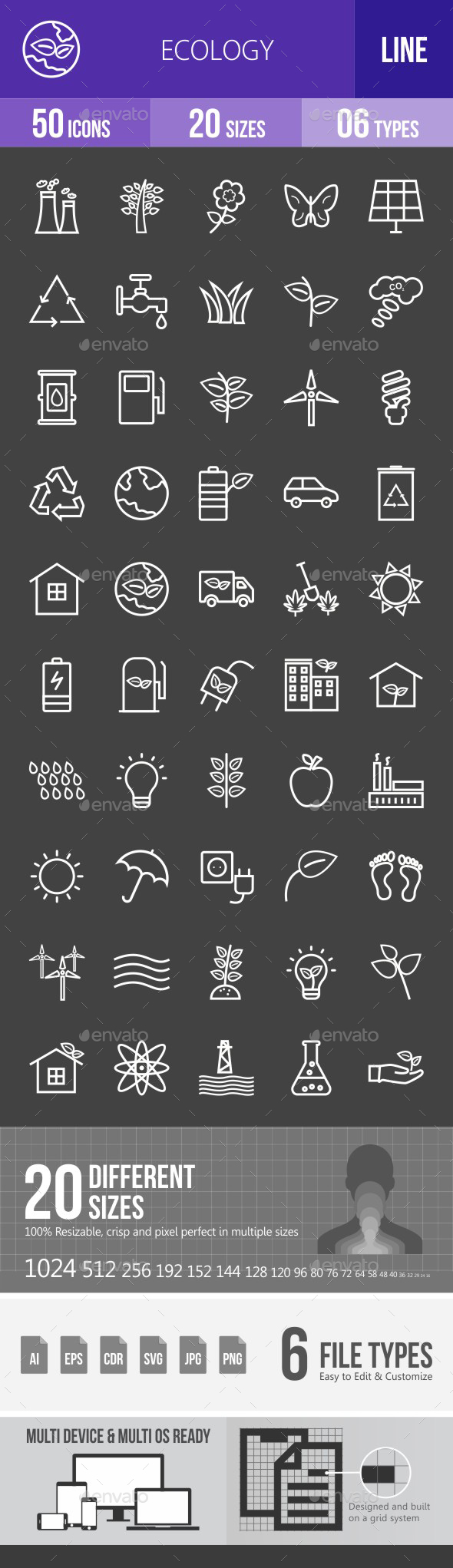 Ecology Line Inverted Icons - Icons