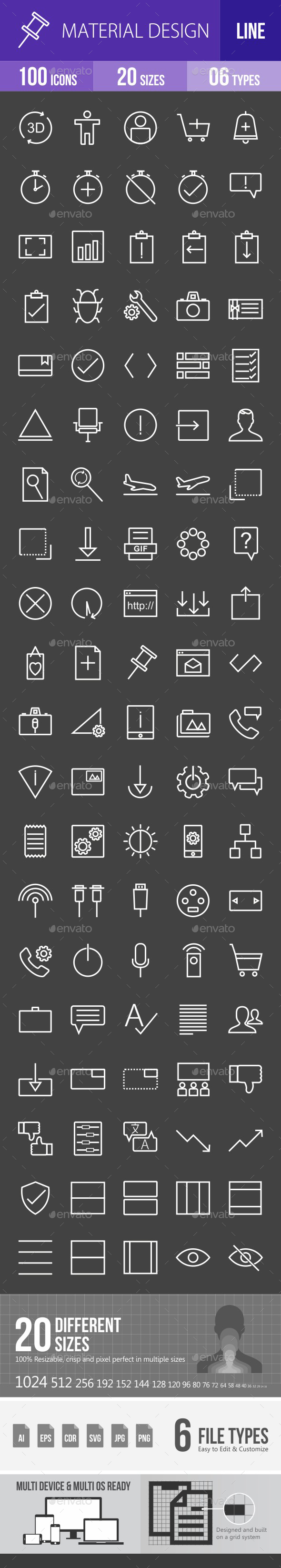 Material Design Line Inverted Icons - Icons