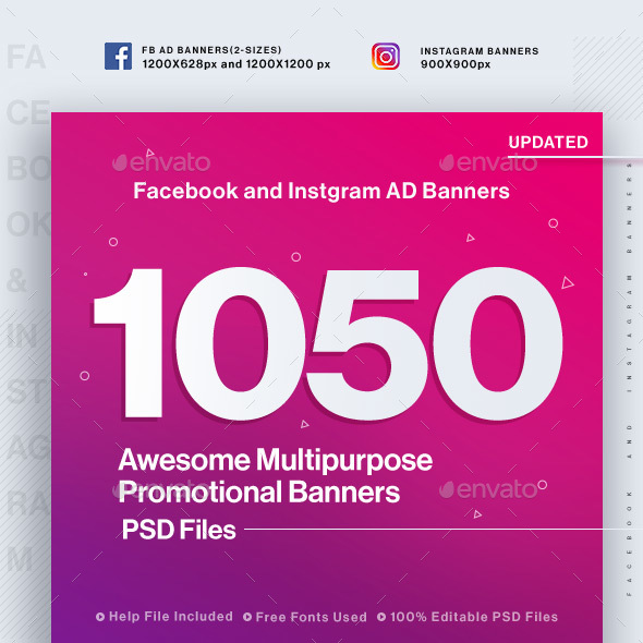 Facebook & Instagram Ad Banners - 1050 Files - Social Media Web Elements