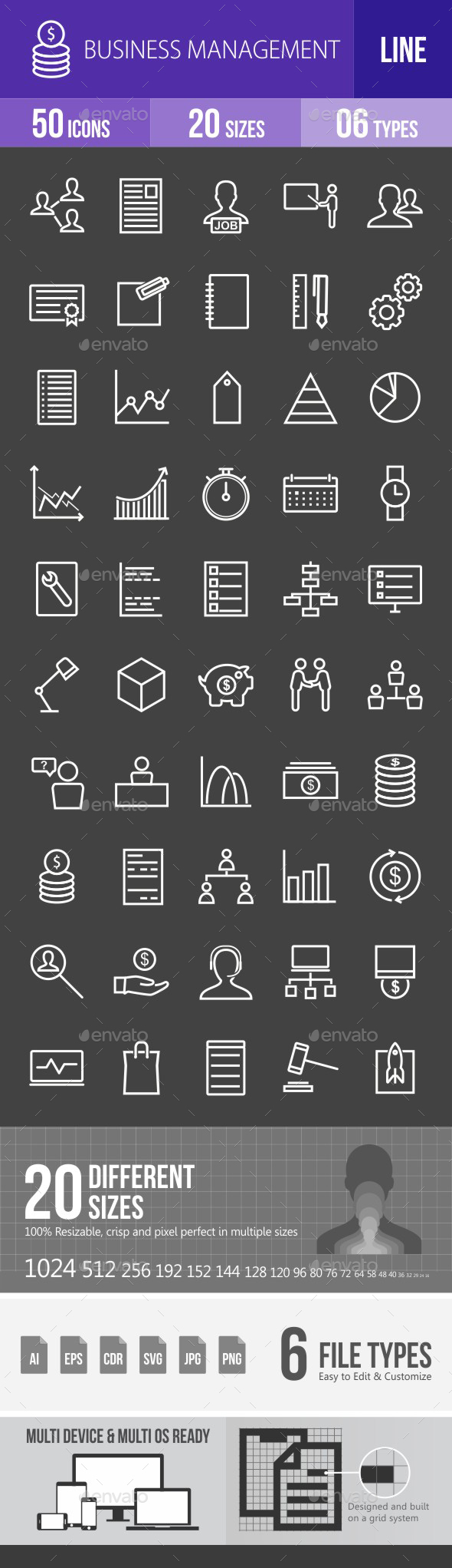 Business Management Line Inverted Icons - Icons