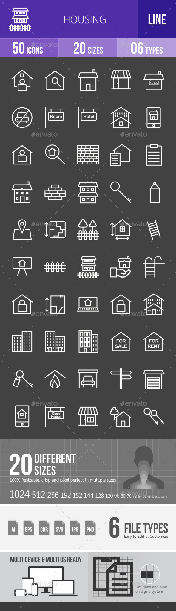 Housing Line Inverted Icons - Icons