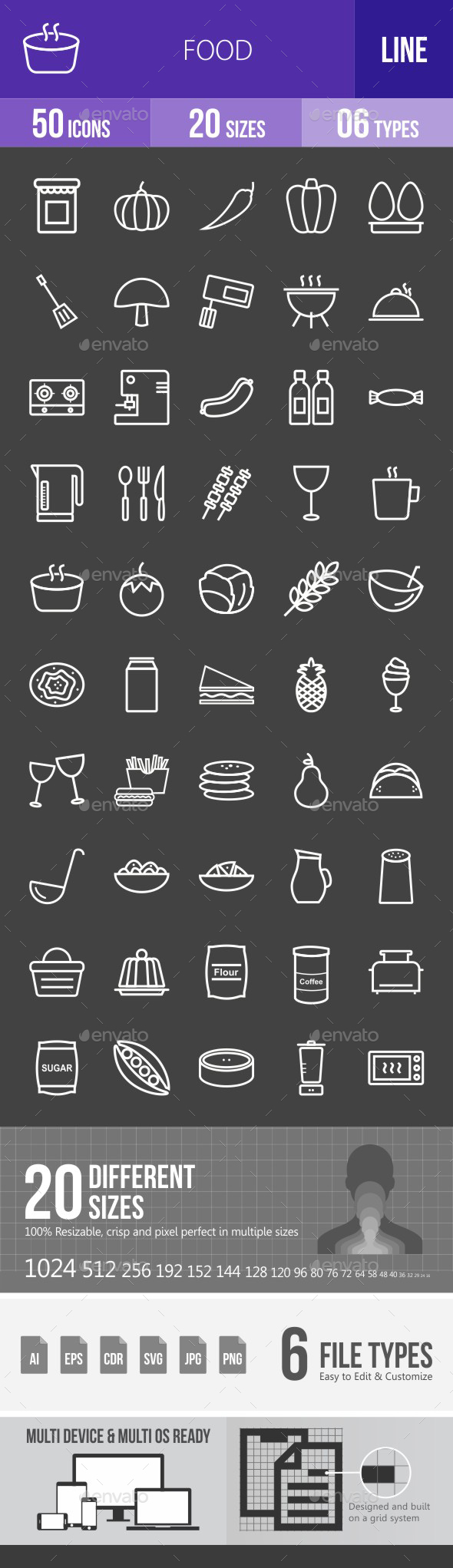 Food Line Inverted Icons - Icons