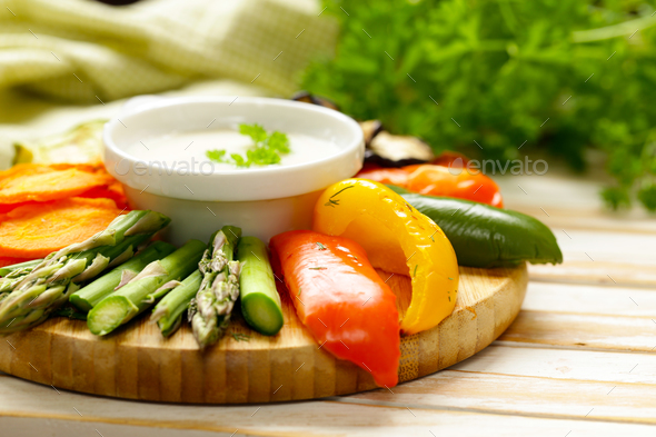 Grilled Vegetables with Yoghurt Dip - Stock Photo - Images