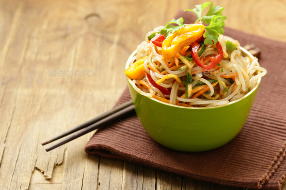 Asian Salad of Rice Noodles  - Stock Photo - Images