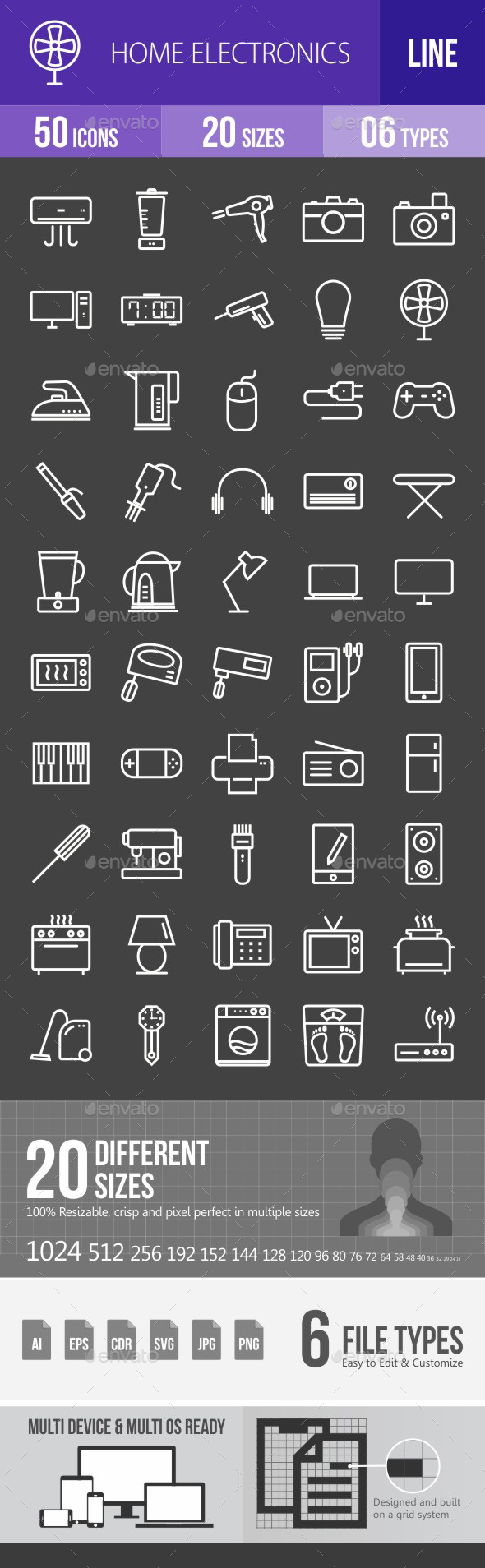 Home Electronics Line Inverted Icons - Icons