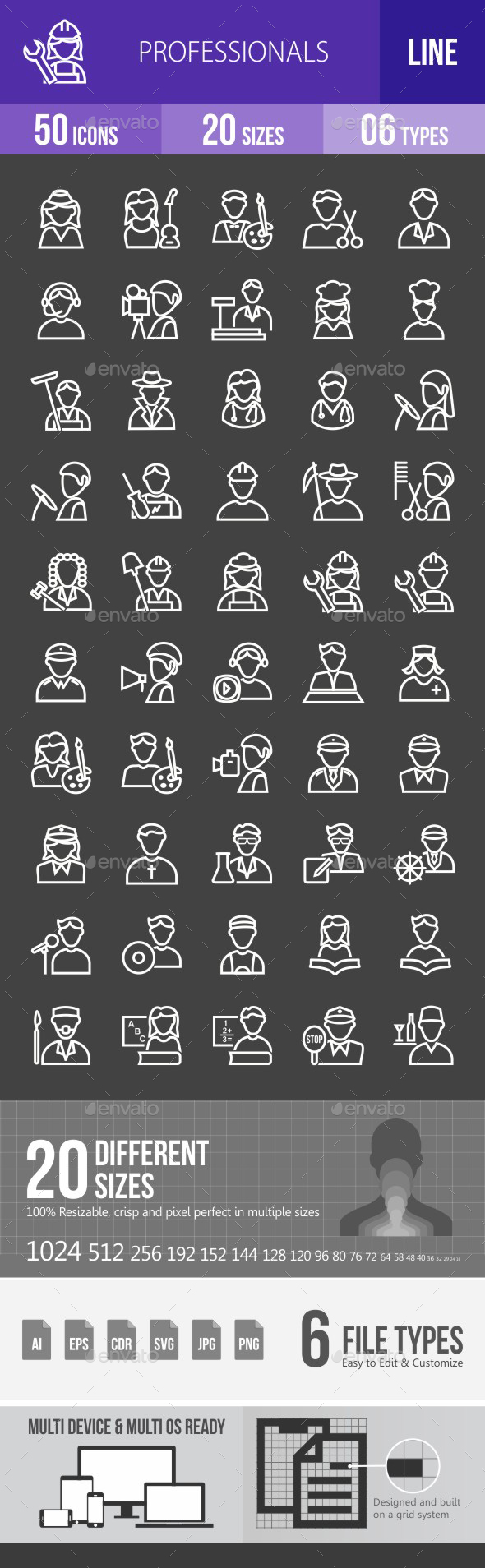Professionals Line Inverted Icons - Icons