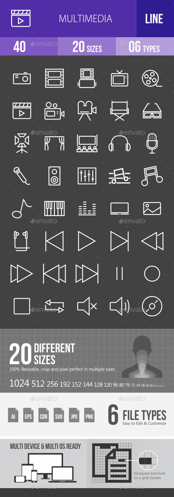 Multimedia Line Inverted Icons - Icons