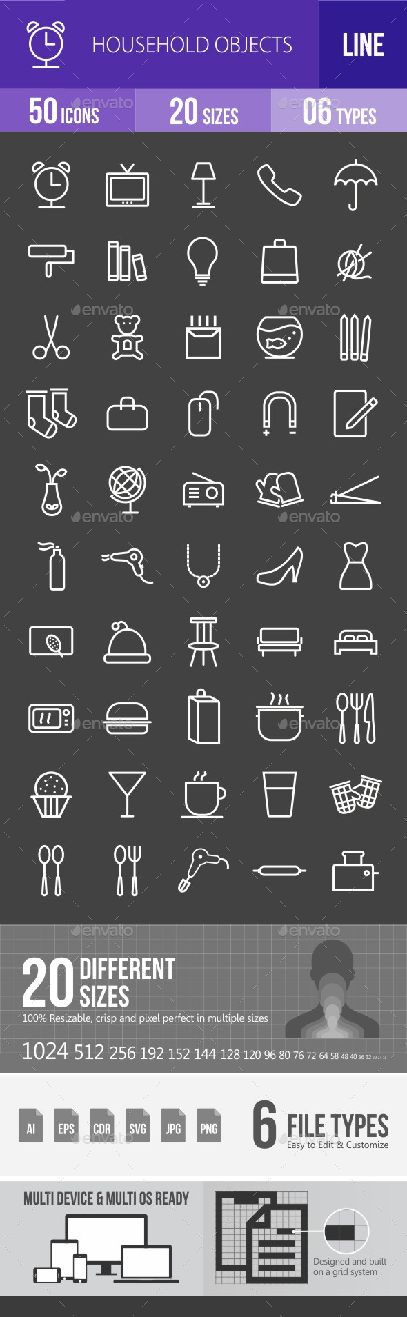 Household Objects Line Inverted Icons - Icons