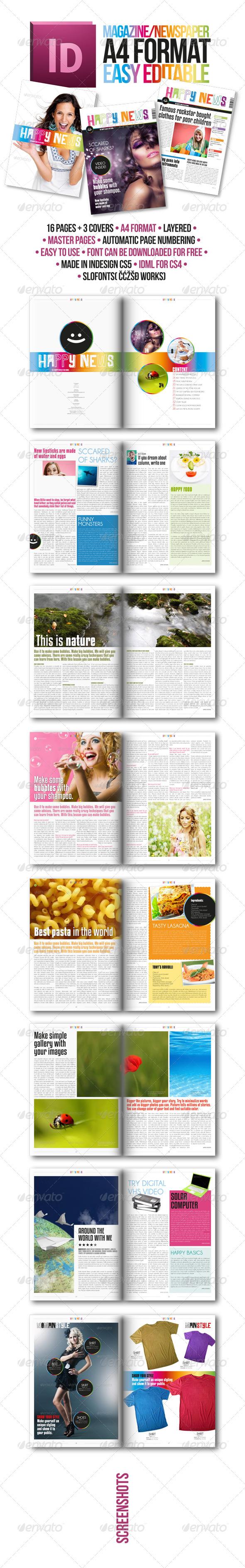 Modern Magazine Template A4 Happy News - Magazines Print Templates