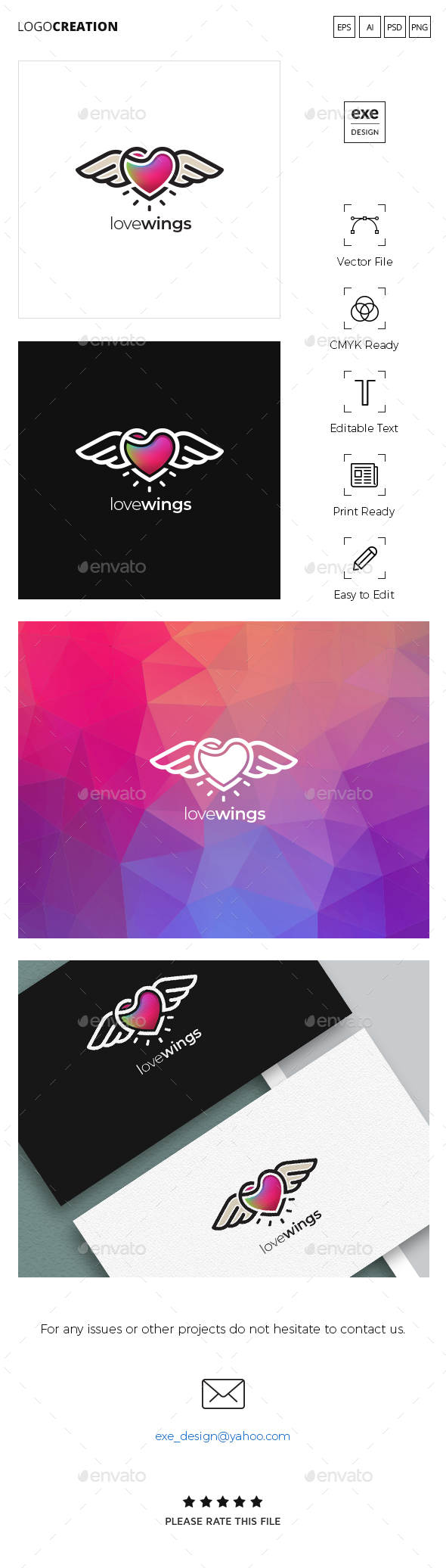 Heart Wings Logo - Symbols Logo Templates