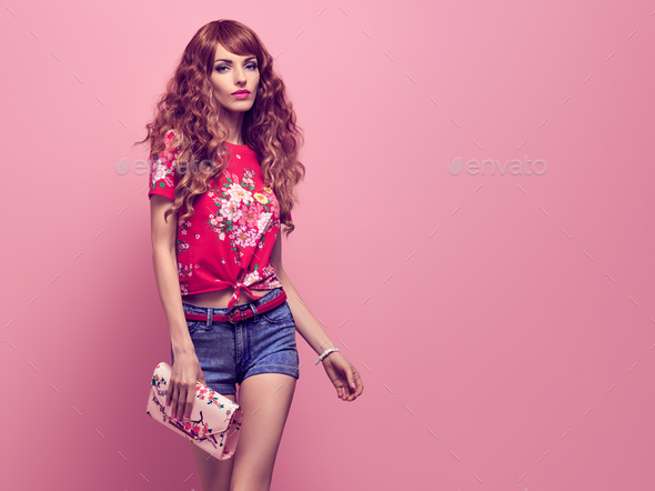 Fashion Young woman, Summer Outfit. Wavy Hairstyle - Stock Photo - Images