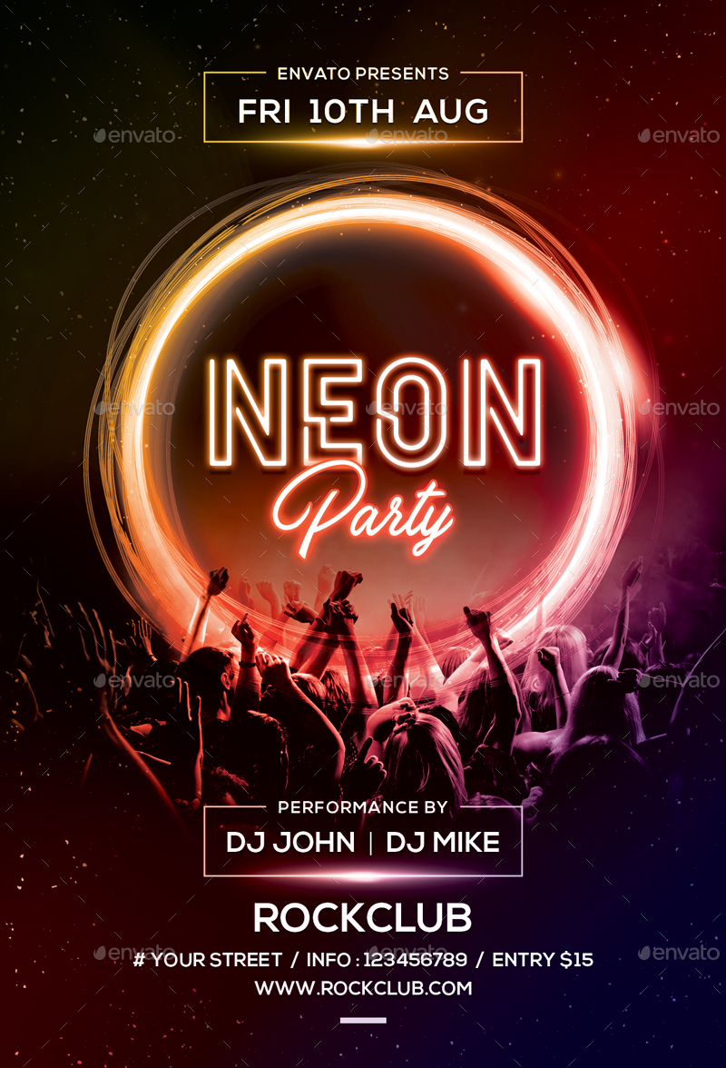 Neon Party by sunilpatilin | GraphicRiver