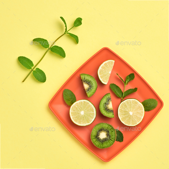 Lemon Kiwi. Fresh Fruit.Vegan Food Concept.Minimal - Stock Photo - Images