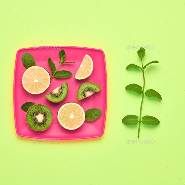 Lemon Kiwi. Fresh Fruit.Vegan Food Concept.Minimal - Stock Photo - Images