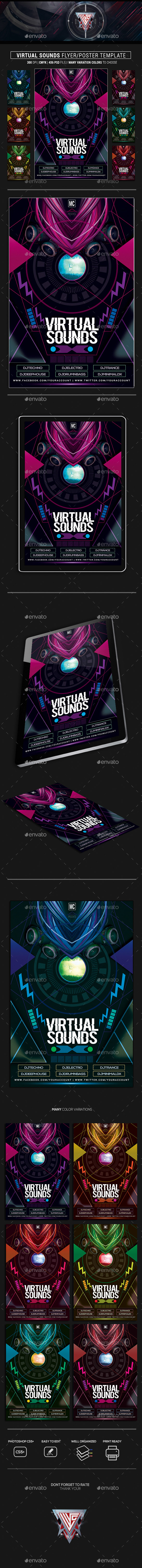 Virtual Sounds Photoshop Flyer/Poster Template - Events Flyers