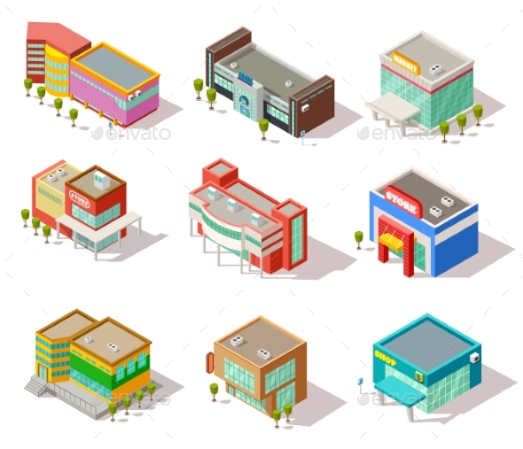Isometric Mall, Store, Shop and Supermarket - Buildings Objects
