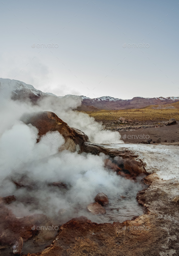 Geysers El Tatio in Chile - Stock Photo - Images