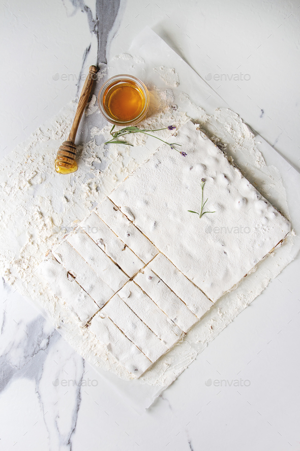 Homemade honey nougat - Stock Photo - Images