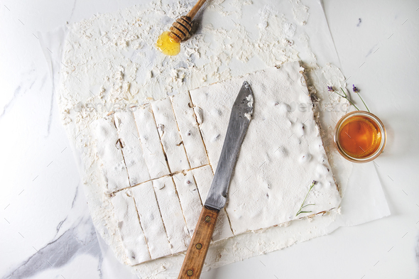 Homemade honey nougat - Stock Photo - Images