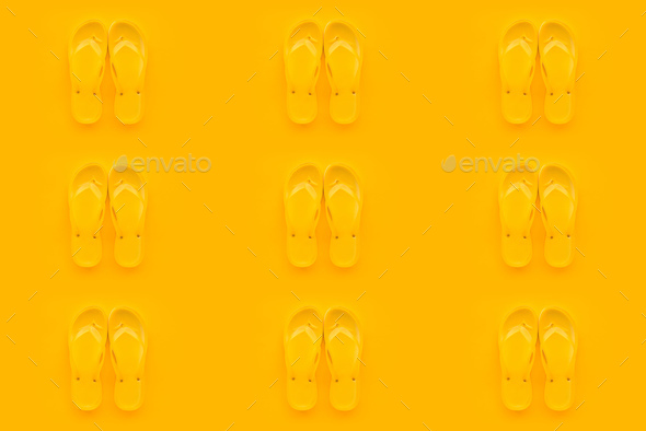 Seamless pattern background of yellow flip flops - Stock Photo - Images