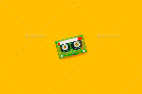 Top view of audio cassette - Stock Photo - Images