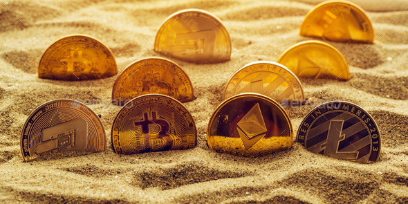 Cryptocurrency coins in sand - Stock Photo - Images