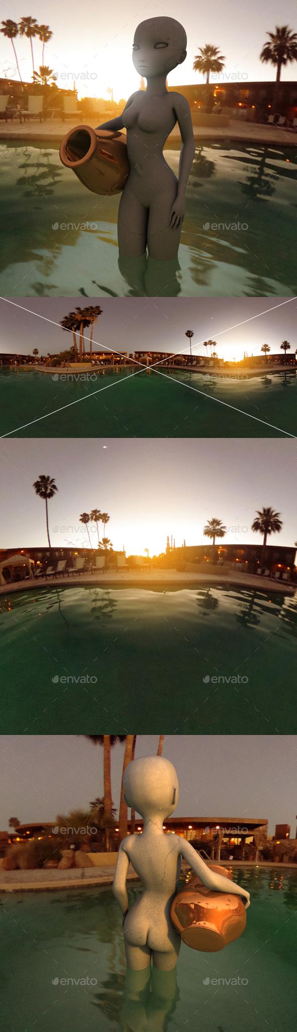 Dusk Hotel Pool HDRI - 3DOcean Item for Sale