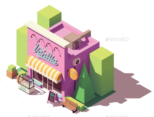 Vector Isometric Ice Cream Shop - Buildings Objects
