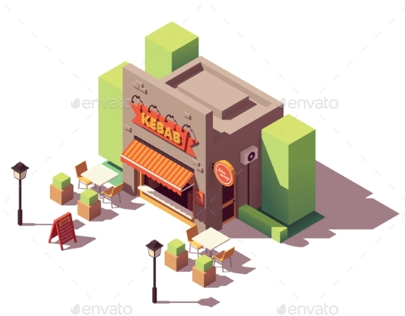 Vector Isometric Kebab Shop - Buildings Objects