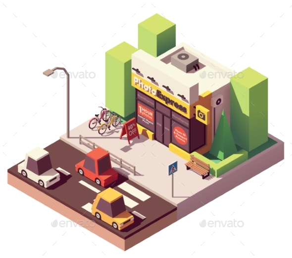 Vector Isometric Photo Printing Shop - Buildings Objects