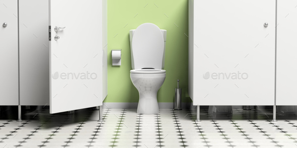Water closet with open door and white toilet bowl. 3d illustration - Stock Photo - Images