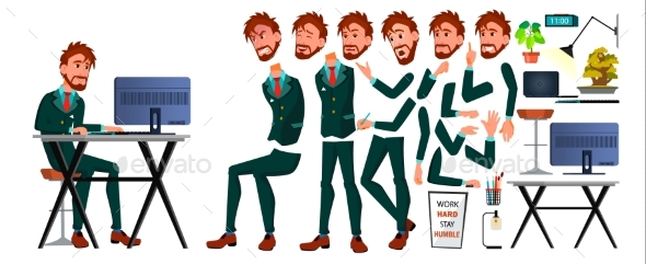 Office Worker Vector. Man Animated Set European Character - People Characters