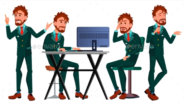 Business Person Vector. European Man - People Characters