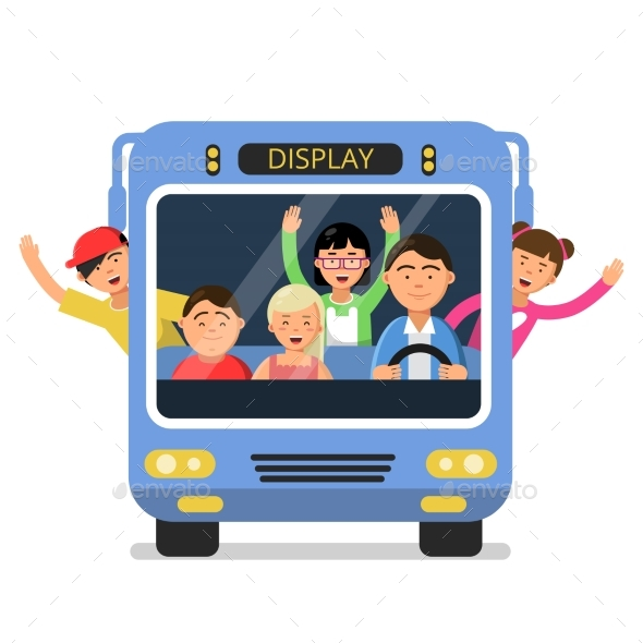 Front View of School Bus - Miscellaneous Vectors