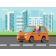 Urban Landscape with Car and Driver - GraphicRiver Item for Sale
