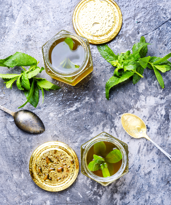 Jam from fresh spearmint - Stock Photo - Images